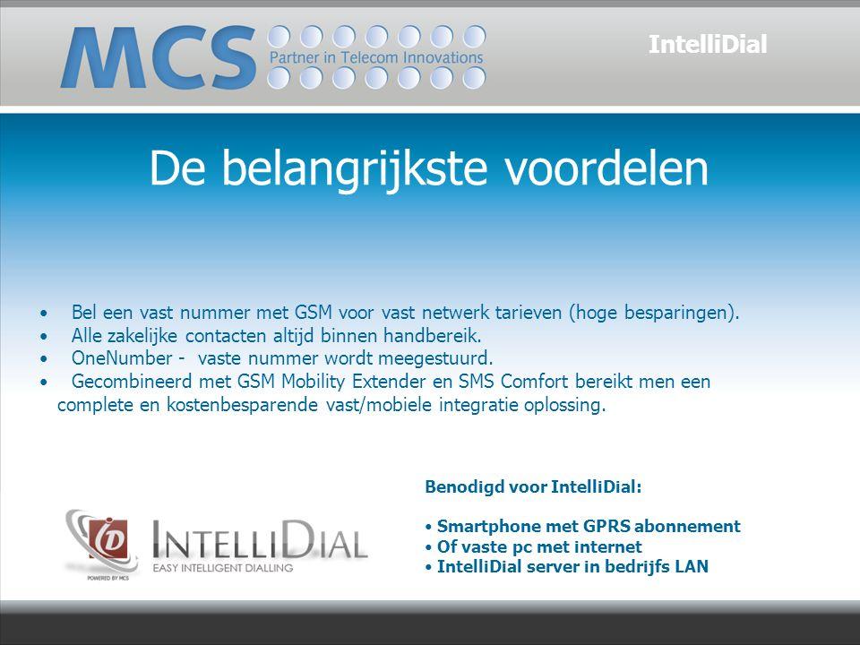 De belangrijkste voordelen IntelliDial Bel een vast nummer met GSM voor vast netwerk tarieven (hoge besparingen).
