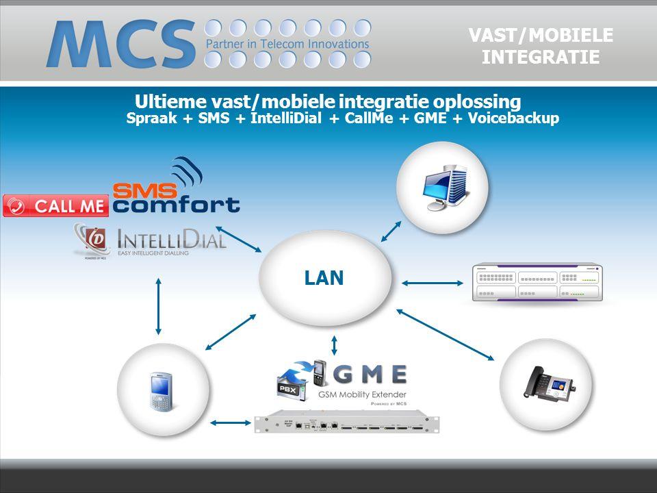 Ultieme vast/mobiele integratie oplossing Spraak + SMS + IntelliDial + CallMe + GME + Voicebackup VAST/MOBIELE INTEGRATIE LAN