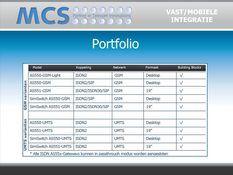 Portfolio VAST/MOBIELE INTEGRATIE