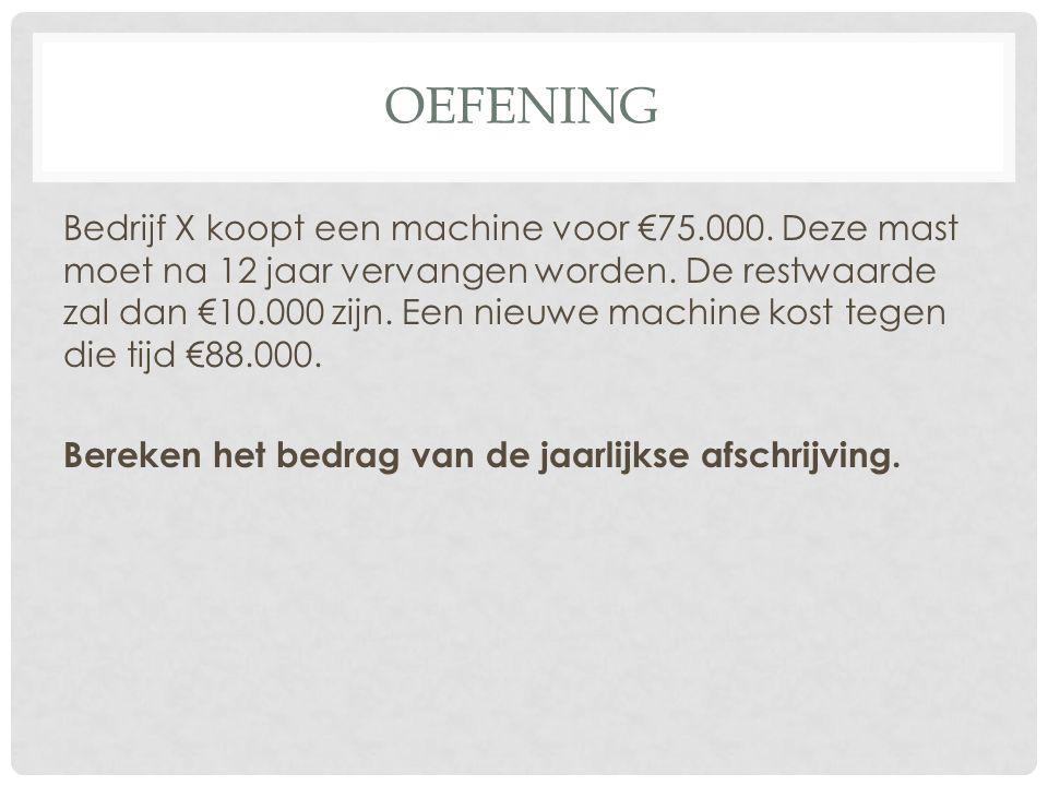 OEFENING Bedrijf X koopt een machine voor €75.000. Deze mast moet na 12 jaar vervangen worden. De restwaarde zal dan €10.000 zijn. Een nieuwe machine