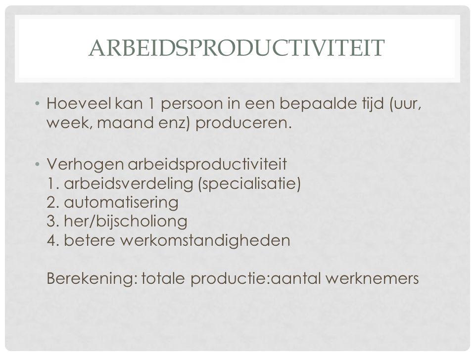 ARBEIDSPRODUCTIVITEIT Hoeveel kan 1 persoon in een bepaalde tijd (uur, week, maand enz) produceren. Verhogen arbeidsproductiviteit 1. arbeidsverdeling