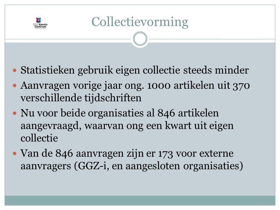 Collectievorming Statistieken gebruik eigen collectie steeds minder Aanvragen vorige jaar ong.