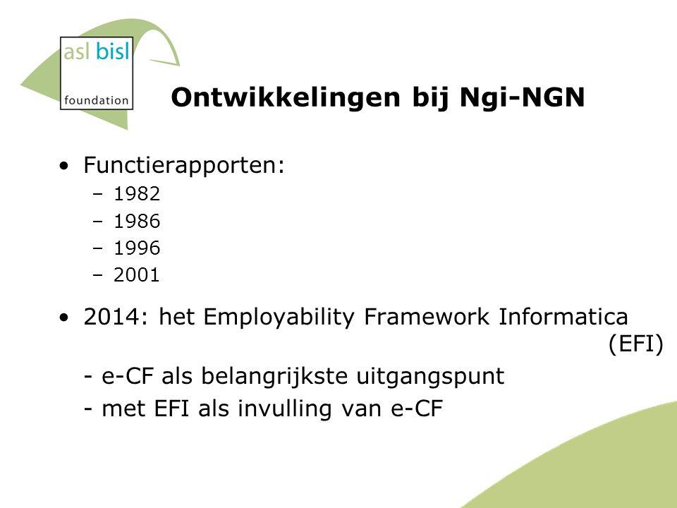 Functierapporten: –1982 –1986 –1996 –2001 2014: het Employability Framework Informatica (EFI) - e-CF als belangrijkste uitgangspunt - met EFI als invulling van e-CF