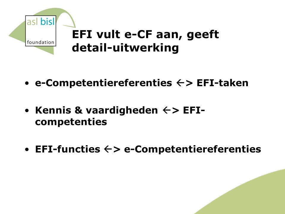 EFI vult e-CF aan, geeft detail-uitwerking e-Competentiereferenties  > EFI-taken Kennis & vaardigheden  > EFI- competenties EFI-functies  > e-Competentiereferenties