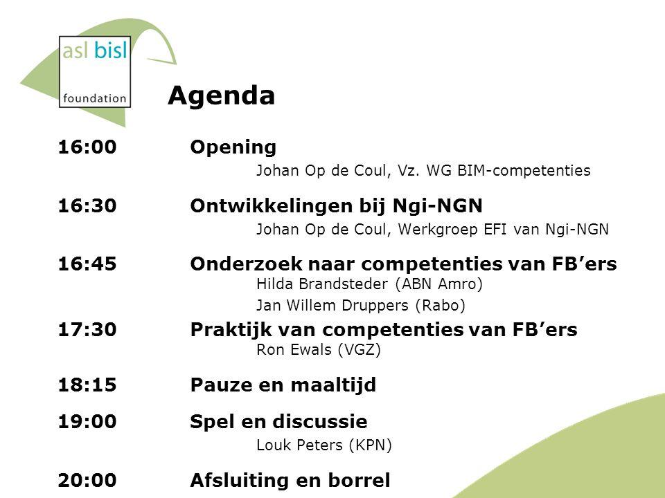 Agenda 16:00Opening Johan Op de Coul, Vz.