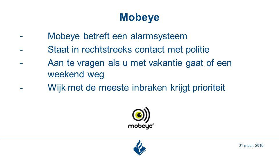 Mobeye 31 maart 2016 -Mobeye betreft een alarmsysteem -Staat in rechtstreeks contact met politie -Aan te vragen als u met vakantie gaat of een weekend weg -Wijk met de meeste inbraken krijgt prioriteit