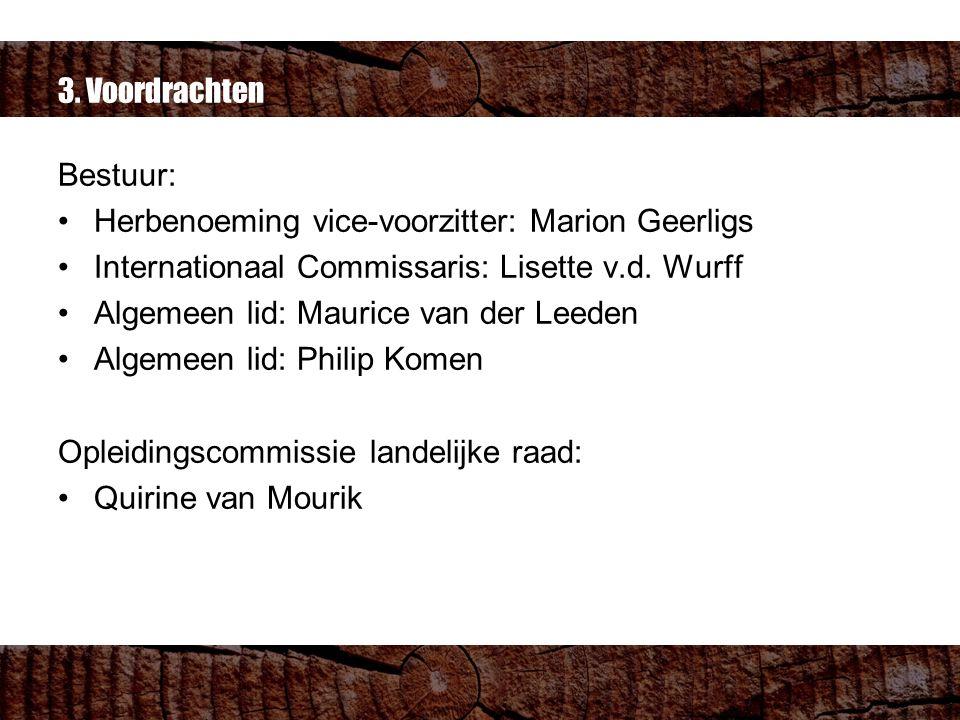 3. Voordrachten Bestuur: Herbenoeming vice-voorzitter: Marion Geerligs Internationaal Commissaris: Lisette v.d. Wurff Algemeen lid: Maurice van der Le