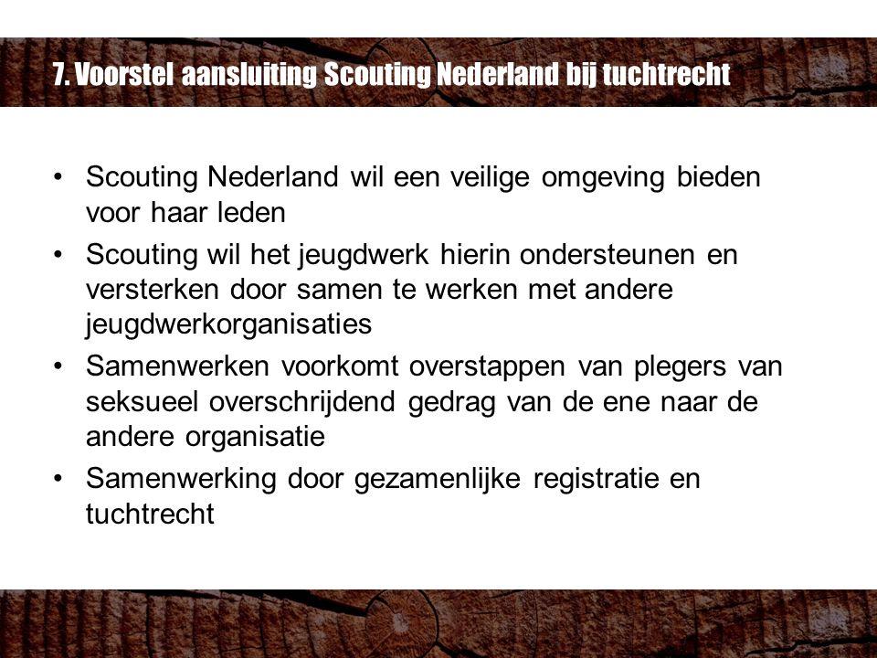 7. Voorstel aansluiting Scouting Nederland bij tuchtrecht Scouting Nederland wil een veilige omgeving bieden voor haar leden Scouting wil het jeugdwer