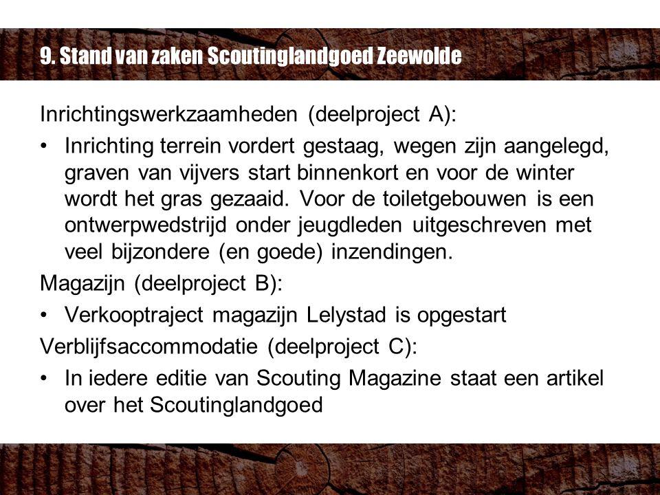 9. Stand van zaken Scoutinglandgoed Zeewolde Inrichtingswerkzaamheden (deelproject A): Inrichting terrein vordert gestaag, wegen zijn aangelegd, grave