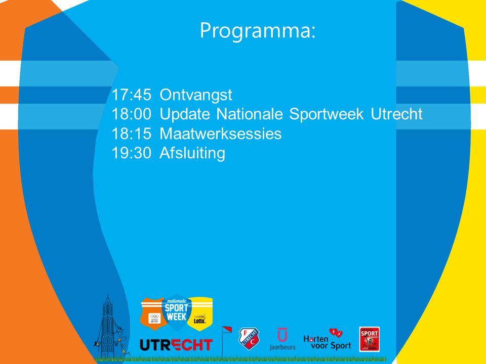 Programma: 17:45Ontvangst 18:00Update Nationale Sportweek Utrecht 18:15Maatwerksessies 19:30 Afsluiting