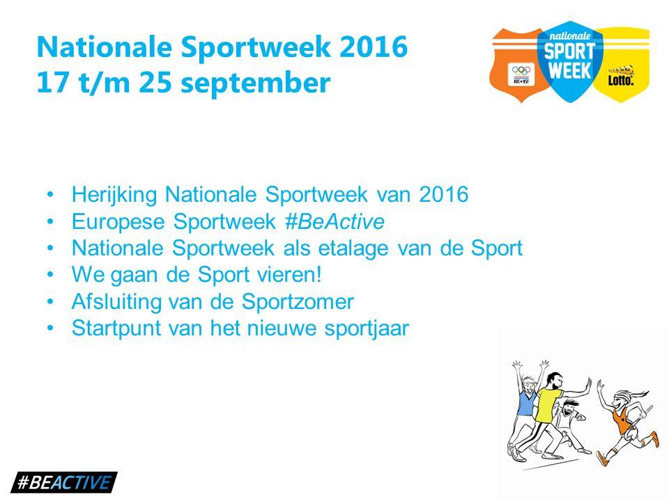 Nationale Sportweek 2016 17 t/m 25 september Herijking Nationale Sportweek van 2016 Europese Sportweek #BeActive Nationale Sportweek als etalage van d