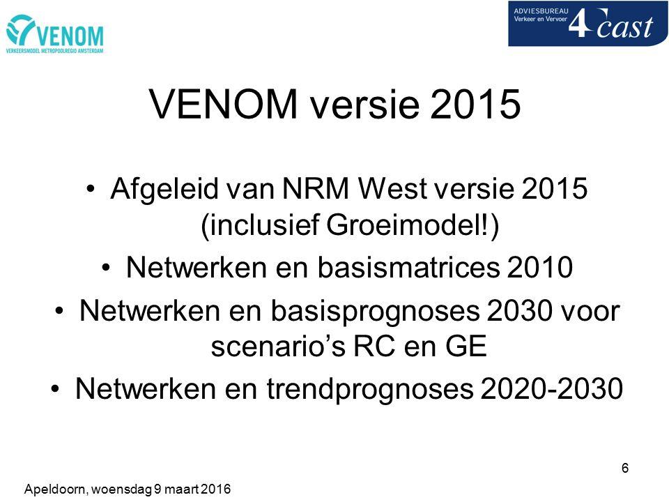 6 VENOM versie 2015 Afgeleid van NRM West versie 2015 (inclusief Groeimodel!) Netwerken en basismatrices 2010 Netwerken en basisprognoses 2030 voor scenario's RC en GE Netwerken en trendprognoses 2020-2030 Apeldoorn, woensdag 9 maart 2016