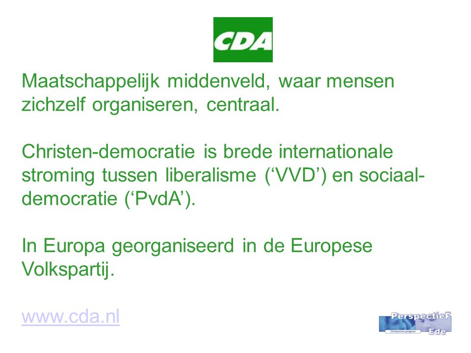 Maatschappelijk middenveld, waar mensen zichzelf organiseren, centraal.