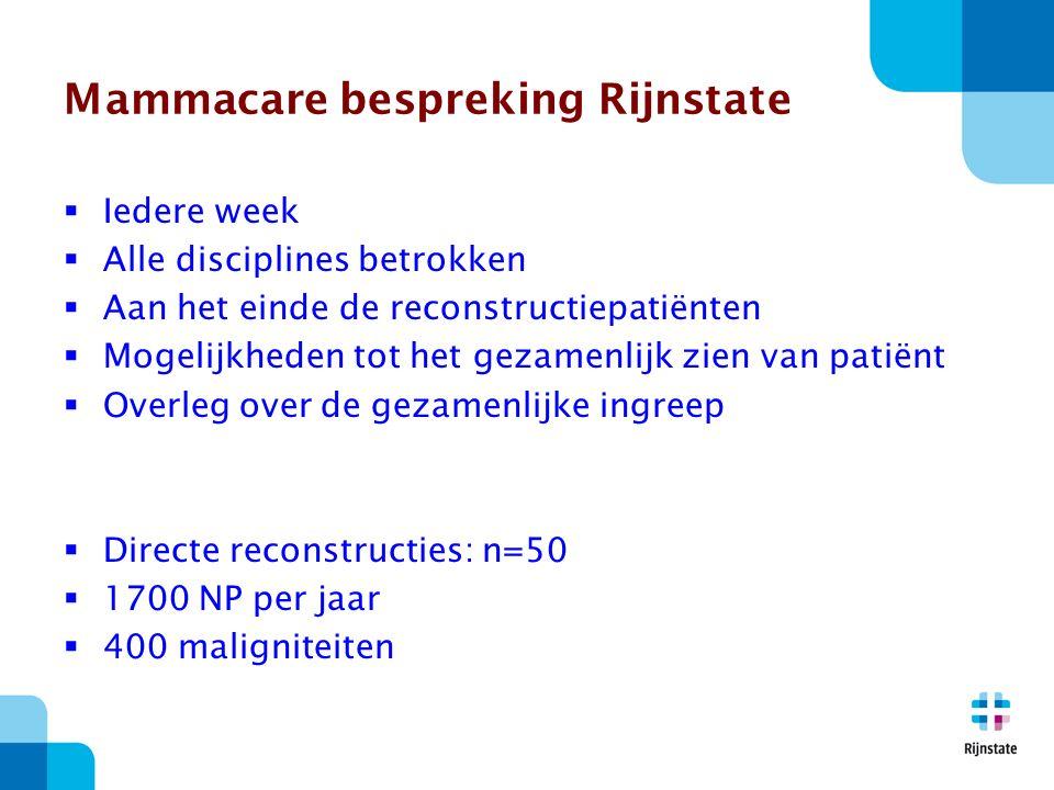 Mammacare bespreking Rijnstate  Iedere week  Alle disciplines betrokken  Aan het einde de reconstructiepatiënten  Mogelijkheden tot het gezamenlijk zien van patiënt  Overleg over de gezamenlijke ingreep  Directe reconstructies: n=50  1700 NP per jaar  400 maligniteiten