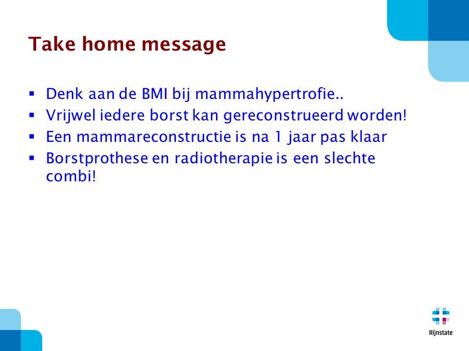 Take home message  Denk aan de BMI bij mammahypertrofie..