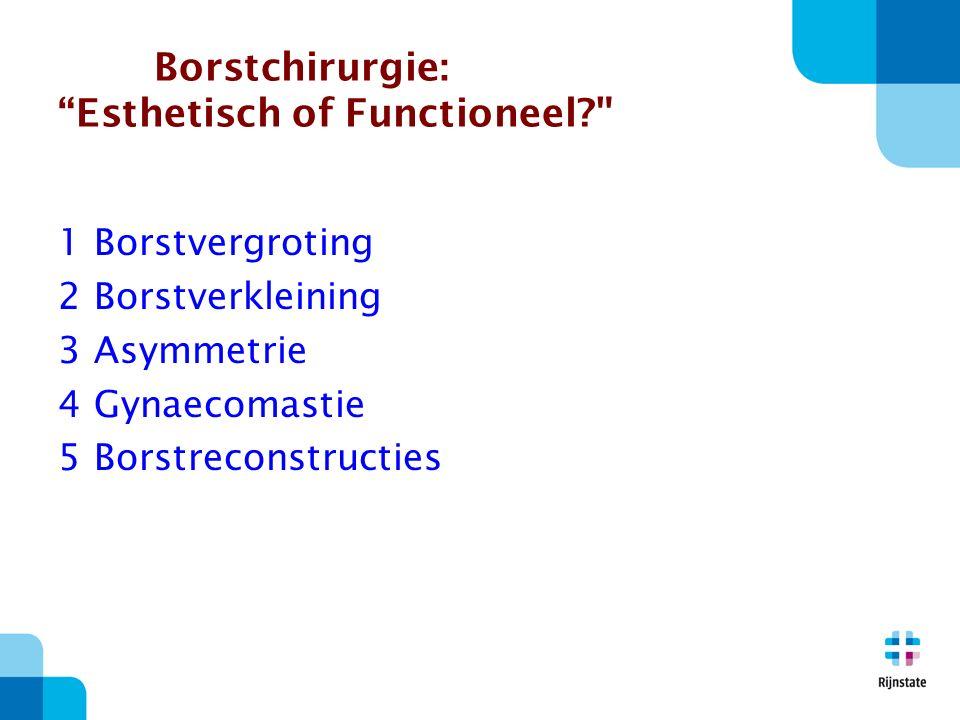 Borstvergroting  Indicatie mammahypotrofie, psychische klachten, mode, asymmetrie congenitaal, na reconstructie contralateraal  Esthetisch of functioneel.