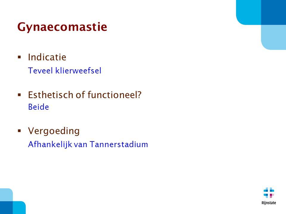Gynaecomastie  Indicatie Teveel klierweefsel  Esthetisch of functioneel.