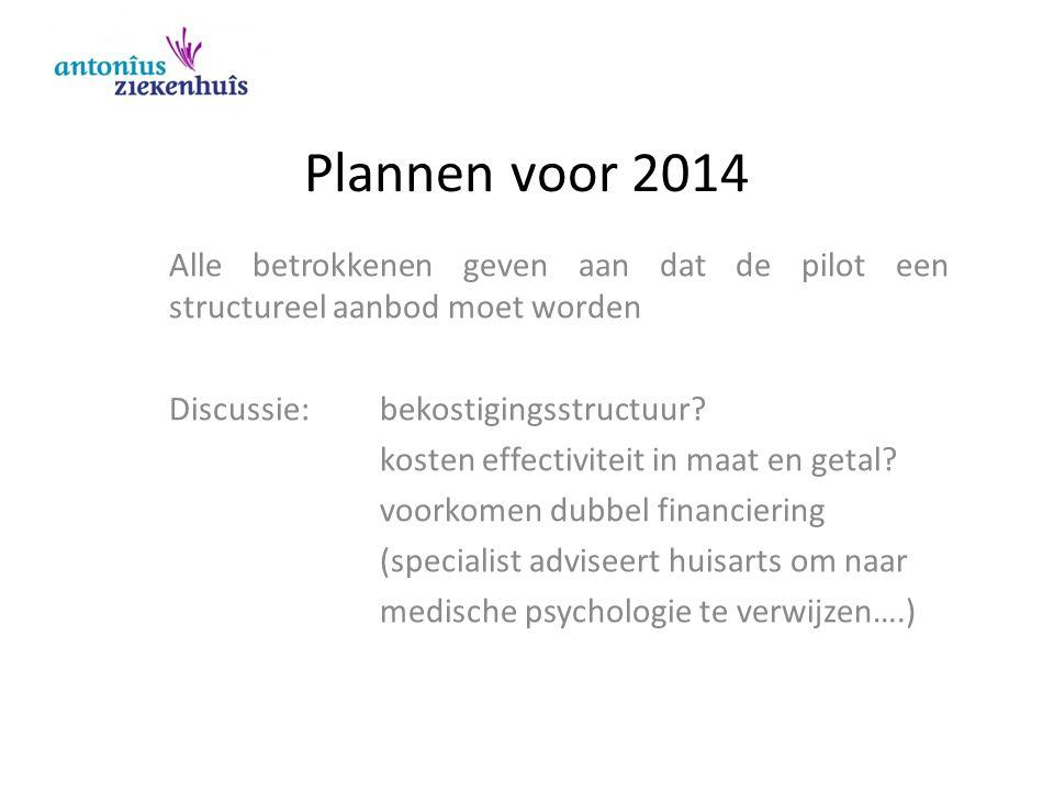 Plannen voor 2014 Alle betrokkenen geven aan dat de pilot een structureel aanbod moet worden Discussie: bekostigingsstructuur? kosten effectiviteit in
