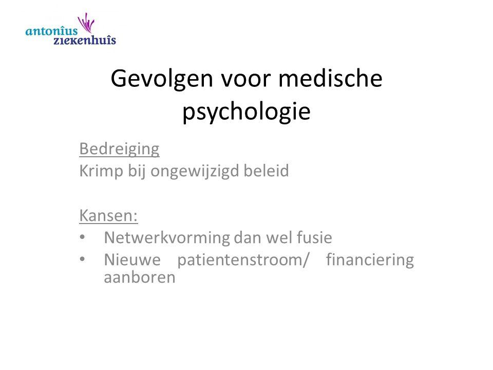 Gevolgen voor medische psychologie Bedreiging Krimp bij ongewijzigd beleid Kansen: Netwerkvorming dan wel fusie Nieuwe patientenstroom/ financiering a
