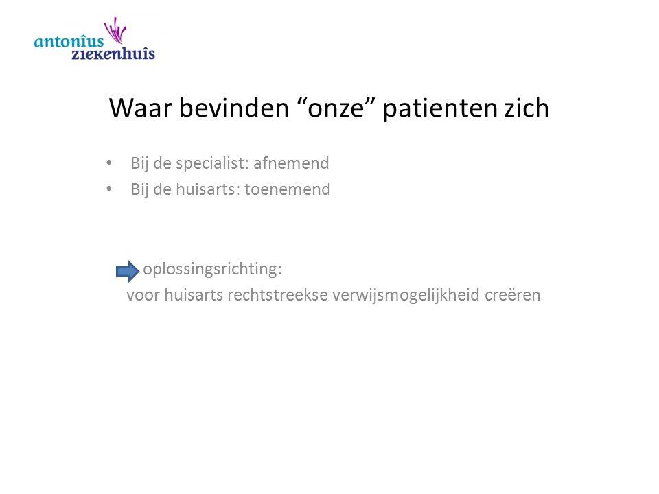 """Waar bevinden """"onze"""" patienten zich Bij de specialist: afnemend Bij de huisarts: toenemend oplossingsrichting: voor huisarts rechtstreekse verwijsmoge"""