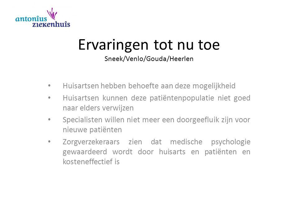Concreter: de ervaringen in Sneek uitvoering : klinisch psychologen Positie: poortspecialisme Beschikbaar bedrag: € 85.000,= 2011: 45 nieuwe patiënten 2012: 71 nieuwe patiënten 2013: 130 nieuwe patiënten (eindejaarsverwachting) Gemiddeld aantal contacten: 5,4 -7; variatie: 1 – 25 Start: alleen huisartsen in Sneek Vanaf '12: alle huisartsen in Zuidwest Friesland Vanaf '13: uitbreiding naar de Noordoost Polder