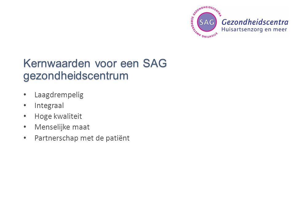 Kernwaarden voor een SAG gezondheidscentrum Laagdrempelig Integraal Hoge kwaliteit Menselijke maat Partnerschap met de patiënt