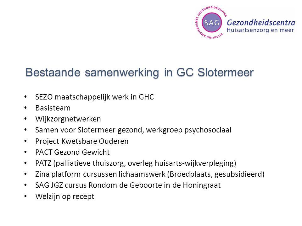 Bestaande samenwerking in GC Slotermeer SEZO maatschappelijk werk in GHC Basisteam Wijkzorgnetwerken Samen voor Slotermeer gezond, werkgroep psychosoc
