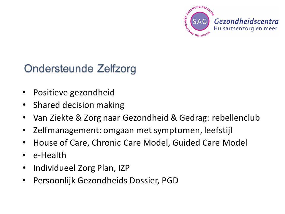 Ondersteunde Zelfzorg Positieve gezondheid Shared decision making Van Ziekte & Zorg naar Gezondheid & Gedrag: rebellenclub Zelfmanagement: omgaan met