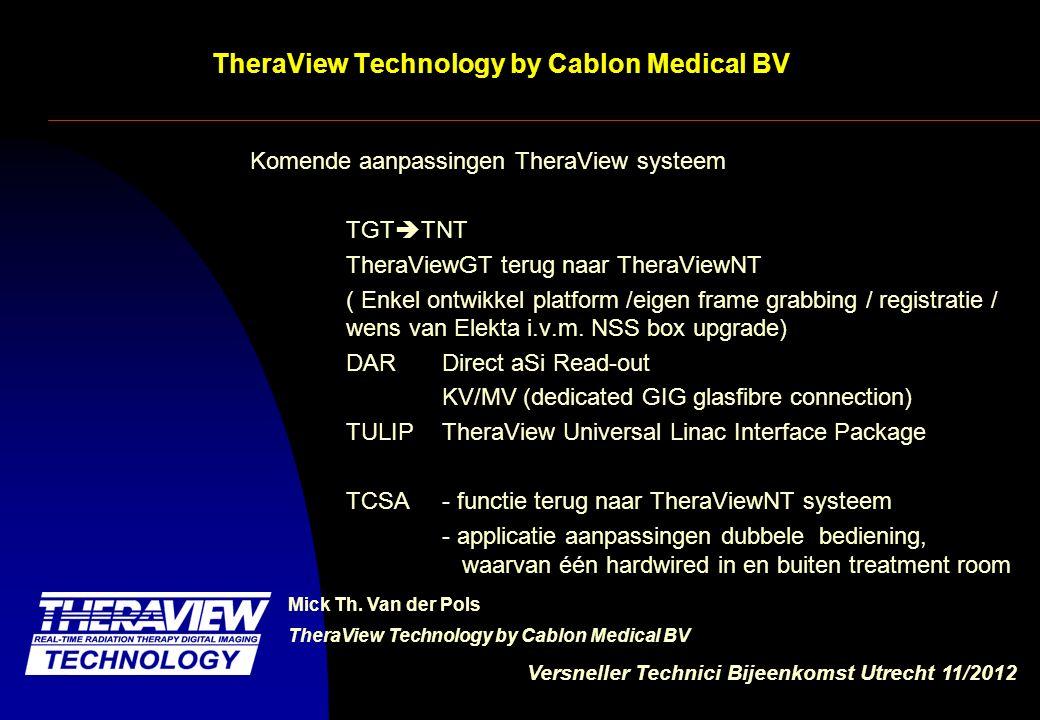 Versneller Technici Bijeenkomst Utrecht 11/2012 TheraView Technology by Cablon Medical BV Imaging chain, direct readout MV/KV DAR in relatie tot NSS box