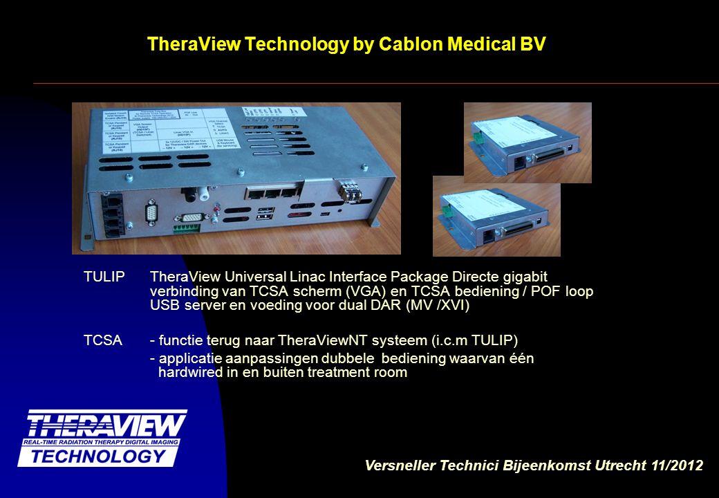 Versneller Technici Bijeenkomst Utrecht 11/2012 TheraView Technology by Cablon Medical BV TCSA - functie terug naar TheraViewNT systeem (i.c.m TULIP) Origineel TCSA scherm pops up op TNT applicatie - applicatie aanpassingen dubbele bediening waarvan één hardwired in één bedienings ruimte Eis EN 60601-2-1.