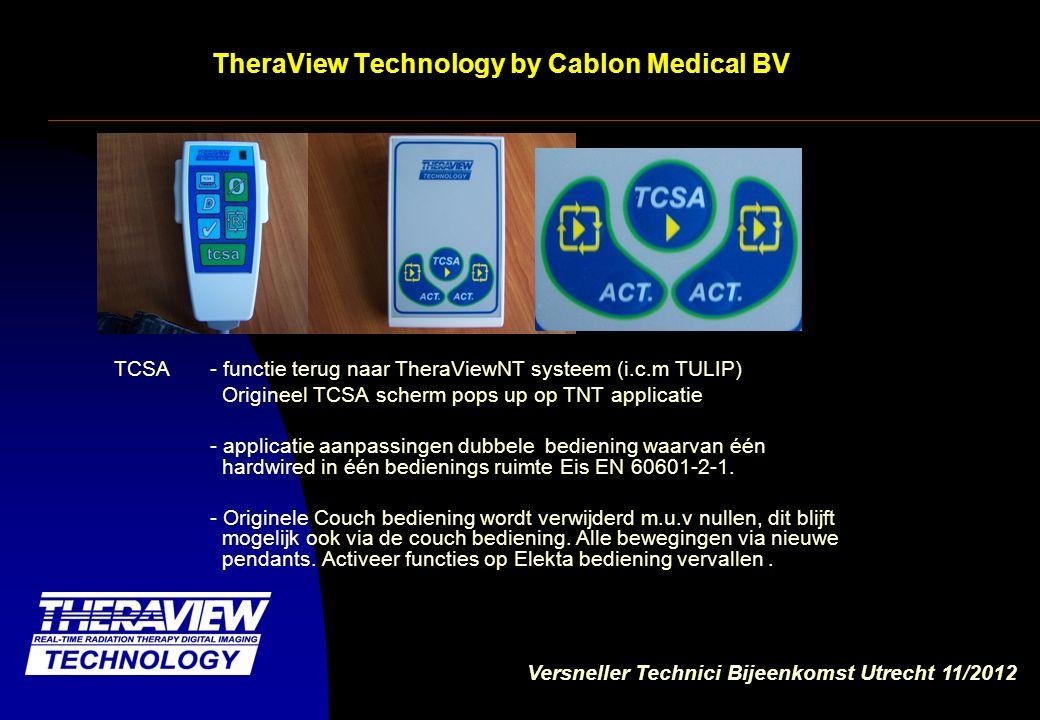 Versneller Technici Bijeenkomst Utrecht 11/2012 TheraView Technology by Cablon Medical BV Functies op nieuwe pendant TCSA = toggle In room TCSA scherm Ø = nullen R = opnieuw positioneren tcsa = Activeer TCSA + sidebars D6 = uitbreiding V =bevestig keuze