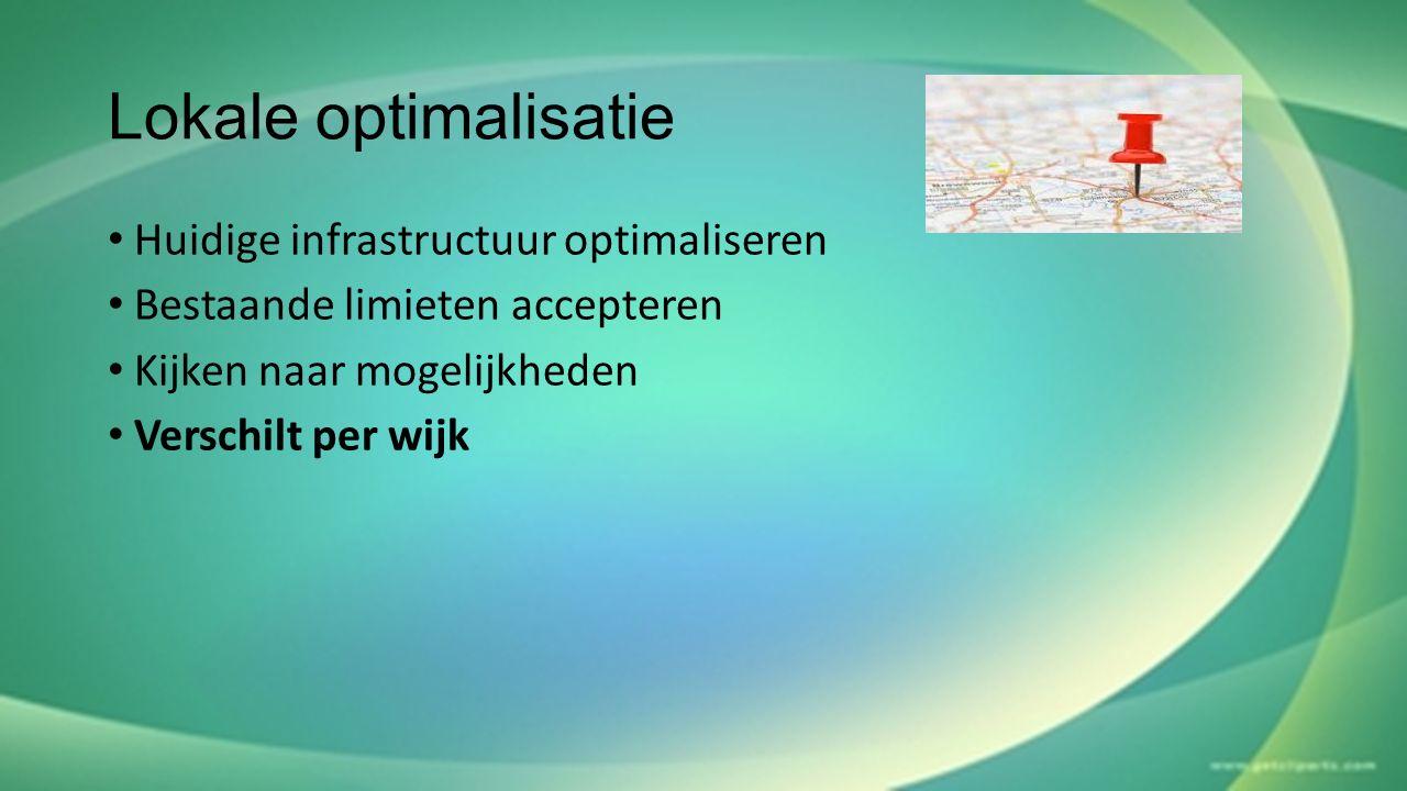 Lokale optimalisatie Huidige infrastructuur optimaliseren Bestaande limieten accepteren Kijken naar mogelijkheden Verschilt per wijk