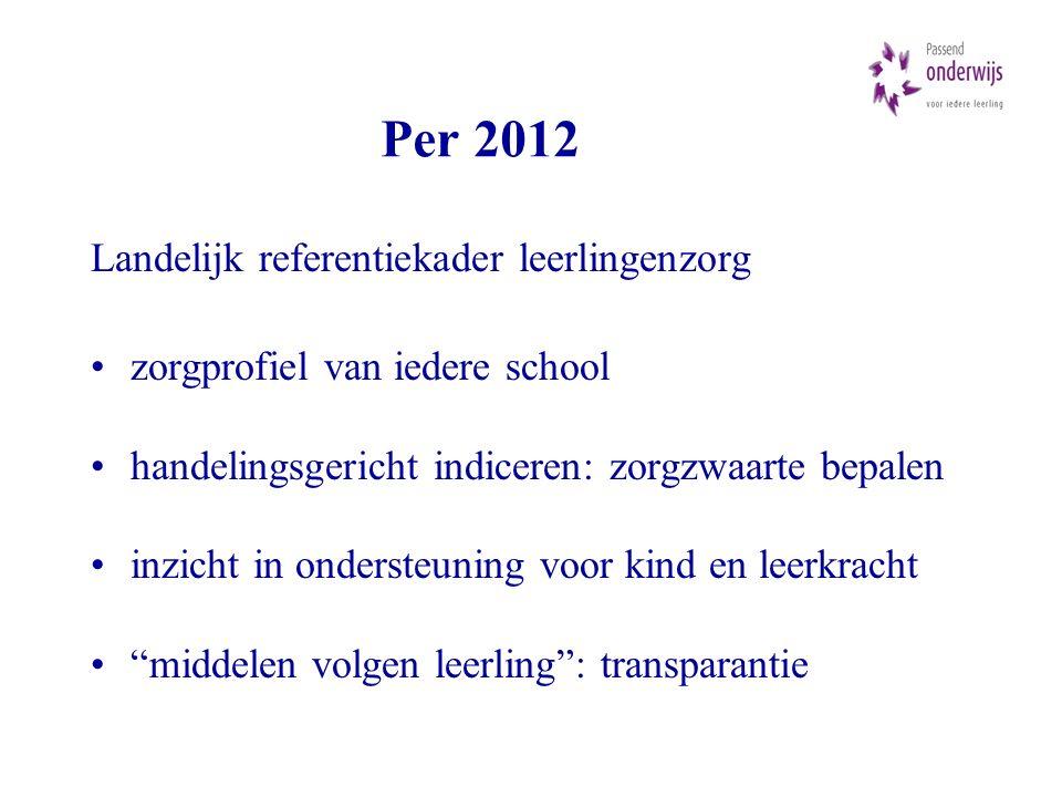 Per 2012 Landelijk referentiekader leerlingenzorg zorgprofiel van iedere school handelingsgericht indiceren: zorgzwaarte bepalen inzicht in ondersteuning voor kind en leerkracht middelen volgen leerling : transparantie