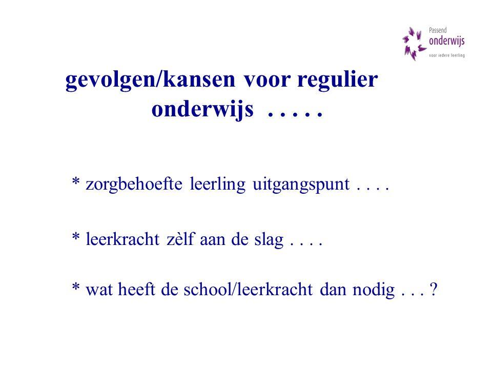 gevolgen/kansen voor regulier onderwijs..... * zorgbehoefte leerling uitgangspunt....