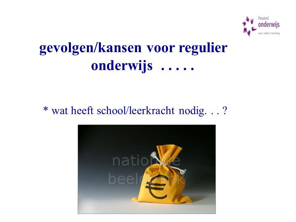 gevolgen/kansen voor regulier onderwijs..... * wat heeft school/leerkracht nodig...