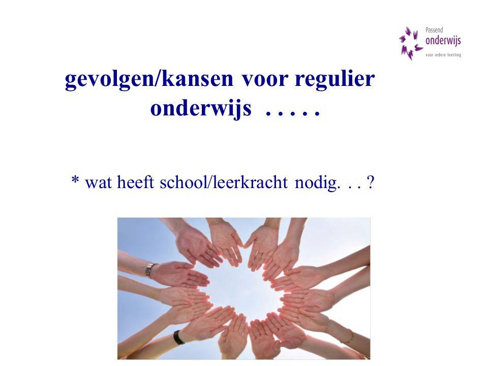 gevolgen/kansen voor regulier onderwijs..... * wat heeft school/leerkracht nodig... ?