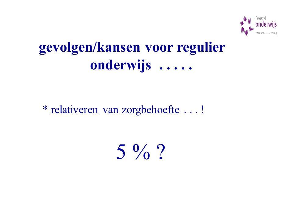 gevolgen/kansen voor regulier onderwijs..... * relativeren van zorgbehoefte... ! 5 %