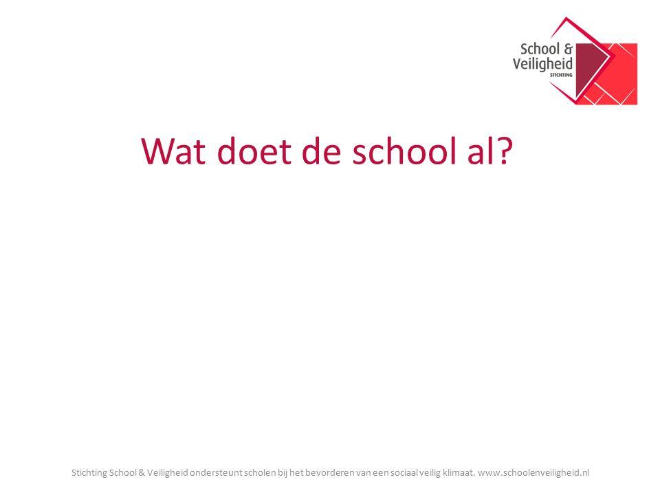 Wat doet de school al? Stichting School & Veiligheid ondersteunt scholen bij het bevorderen van een sociaal veilig klimaat. www.schoolenveiligheid.nl