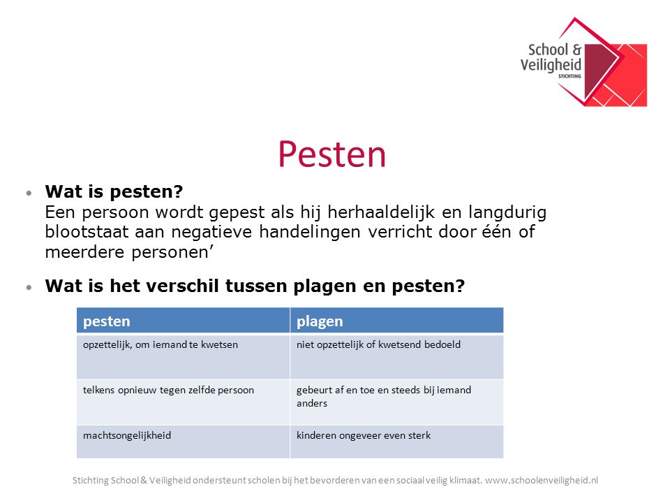 Pesten Wat is pesten.