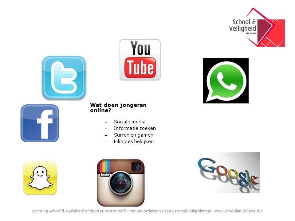 Wat doen jongeren online? – Sociale media – Informatie zoeken – Surfen en gamen – Filmpjes bekijken Stichting School & Veiligheid ondersteunt scholen