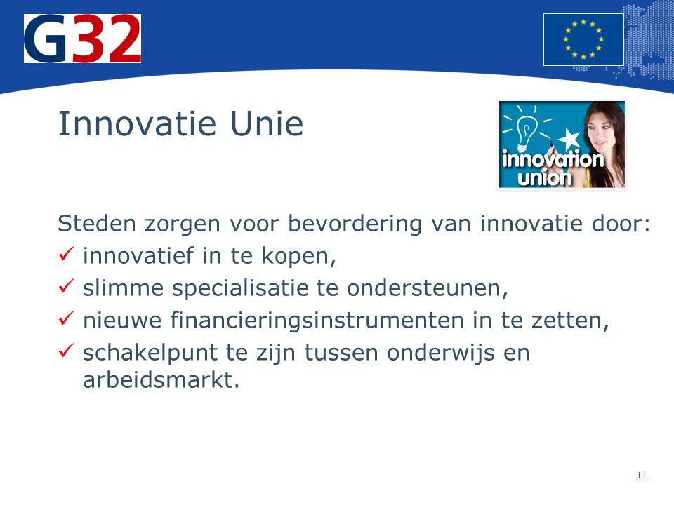11 Europese Unie Regionaal Beleid – Werkgelegenheid, sociale zaken en insluiting Innovatie Unie Steden zorgen voor bevordering van innovatie door: innovatief in te kopen, slimme specialisatie te ondersteunen, nieuwe financieringsinstrumenten in te zetten, schakelpunt te zijn tussen onderwijs en arbeidsmarkt.