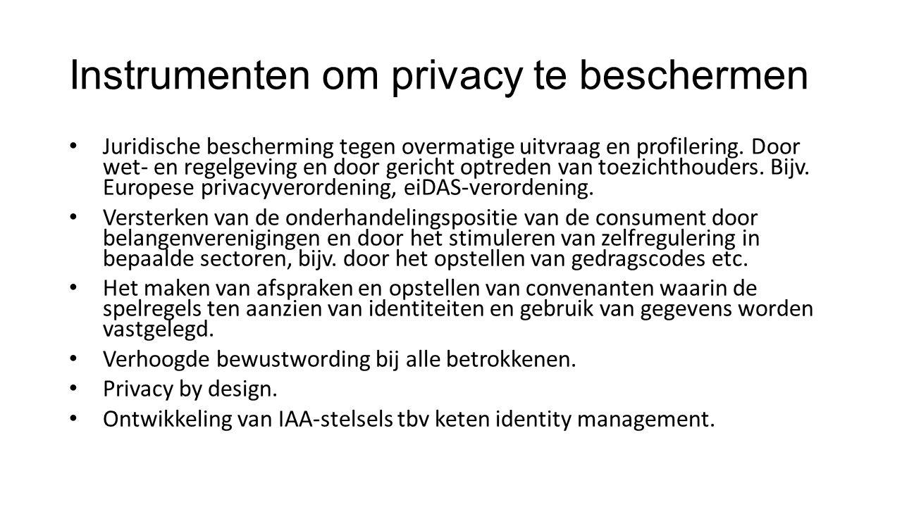 Instrumenten om privacy te beschermen Juridische bescherming tegen overmatige uitvraag en profilering.