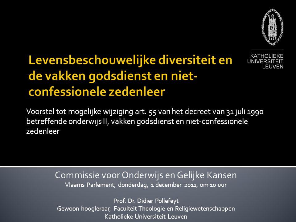 Raad van State:  Een lange traditie in België waarbij de inhoud van de levensbeschouwelijke vakken volledig vrij bepaald wordt door de erkende instanties van de verschillende levensbeschouwingen  De actieve vrijheid van onderwijs, gewaarborgd door de Grondwet