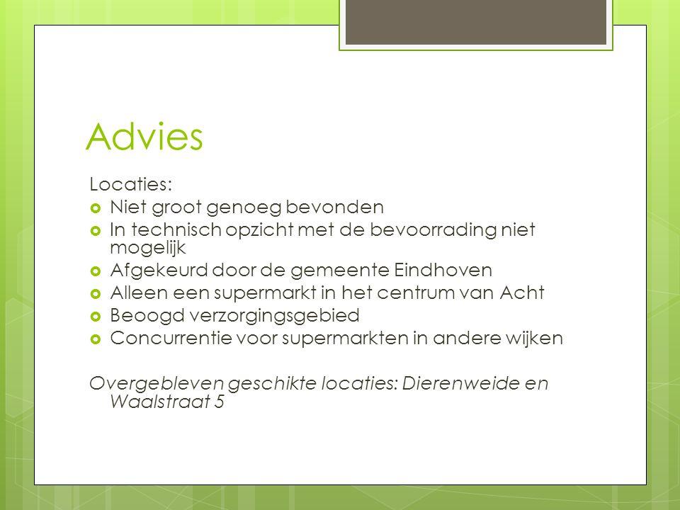 Advies Locaties:  Niet groot genoeg bevonden  In technisch opzicht met de bevoorrading niet mogelijk  Afgekeurd door de gemeente Eindhoven  Alleen een supermarkt in het centrum van Acht  Beoogd verzorgingsgebied  Concurrentie voor supermarkten in andere wijken Overgebleven geschikte locaties: Dierenweide en Waalstraat 5