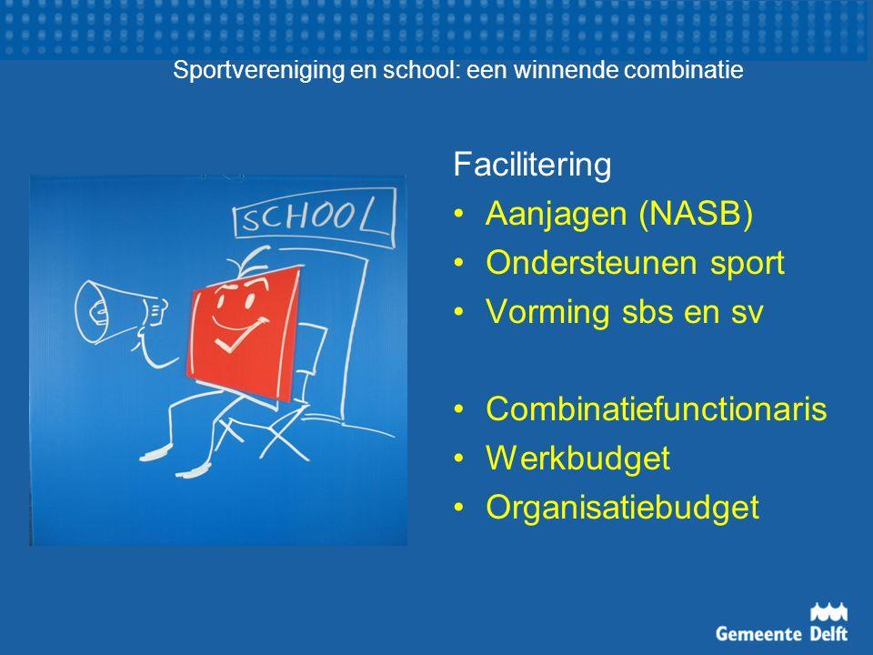 Sportvereniging en school: een winnende combinatie Facilitering Aanjagen (NASB) Ondersteunen sport Vorming sbs en sv Combinatiefunctionaris Werkbudget Organisatiebudget