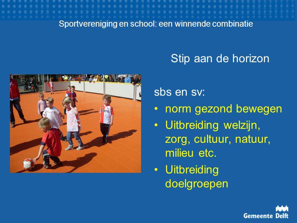Sportvereniging en school: een winnende combinatie Stip aan de horizon sbs en sv: norm gezond bewegen Uitbreiding welzijn, zorg, cultuur, natuur, milieu etc.
