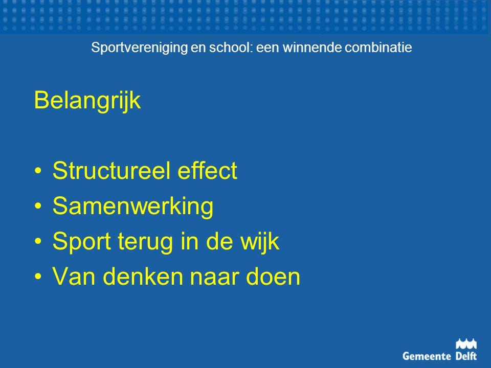 Sportvereniging en school: een winnende combinatie Belangrijk Structureel effect Samenwerking Sport terug in de wijk Van denken naar doen
