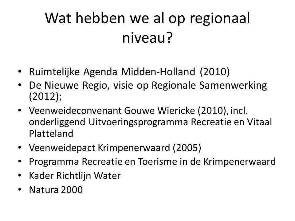 Wat hebben we al op regionaal niveau? Ruimtelijke Agenda Midden-Holland (2010) De Nieuwe Regio, visie op Regionale Samenwerking (2012); Veenweideconve