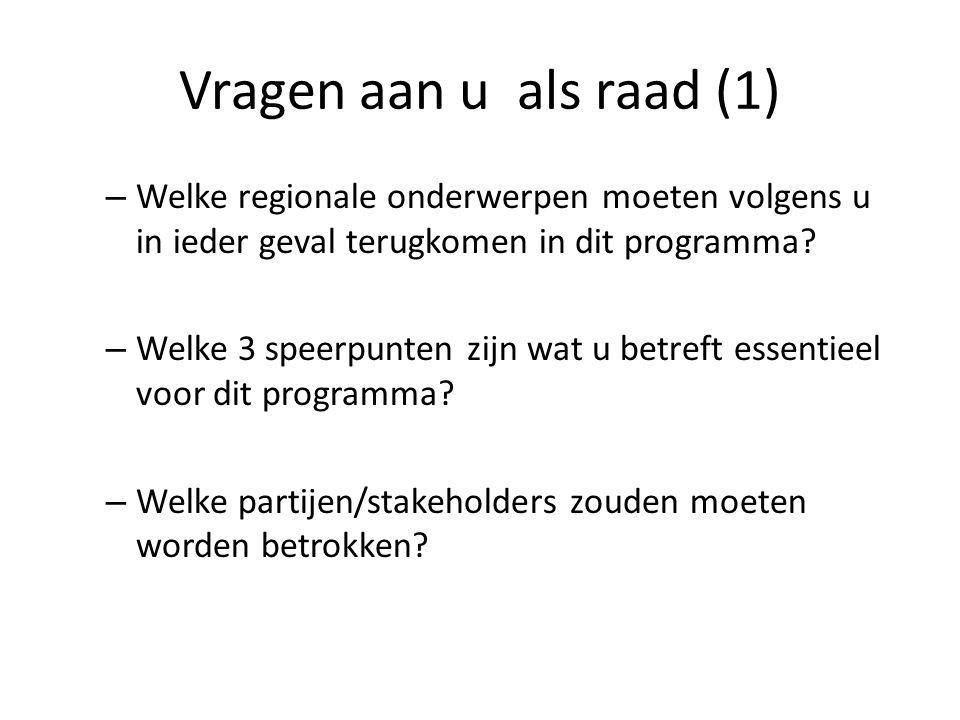 Vragen aan u als raad (1) – Welke regionale onderwerpen moeten volgens u in ieder geval terugkomen in dit programma? – Welke 3 speerpunten zijn wat u