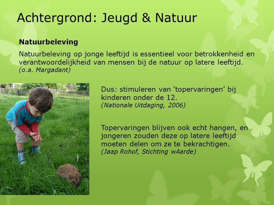 Natuurbeleving Natuurbeleving op jonge leeftijd is essentieel voor betrokkenheid en verantwoordelijkheid van mensen bij de natuur op latere leeftijd.